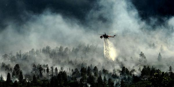 Helicopter fighting a wildfire